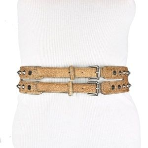 BCBG Brown Faux Leather Double Buckle Studded Belt